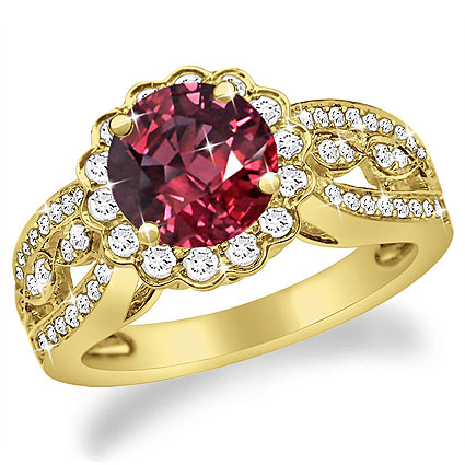 5.25 Ct. TW Round Cut Pigeon Blood Red Ruby & Diamond Ring in 14 kt. Yellow Gold
