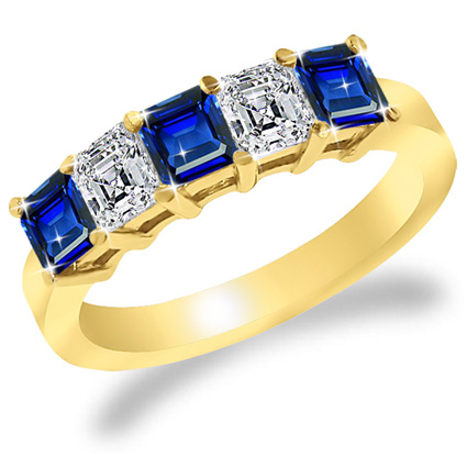 2.50 Ct. TW Square Cut Sapphire & Asscher Cut Diamond Band in 14 kt. Yellow Gold Ring