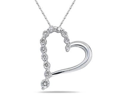 """1.50 Ct.TW Round Diamond Heart Pendant in 14 kt. With 16"""" Chain"""