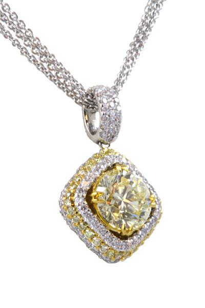 TWO TONE YELLOW DIAMOND PENDANT