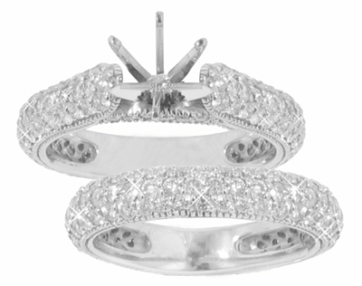 2.40 Ct. TW Round Diamond Engagement Mount with Wedding Band