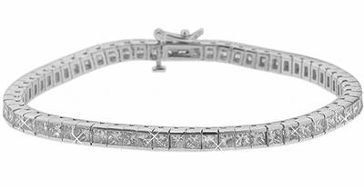 5.00 Ct. TW Princess Diamond Tennis Bracelet in 14 kt. Channel Setting