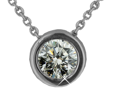 "1.15 Ct. TW Bezel Set Round Cut Diamond Solitaire Pendant in 14 kt. With 18"" Chain"