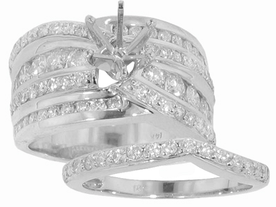 2.65 Ct. TW Round Diamond Engagement Mount with Form Fit Wedding Band