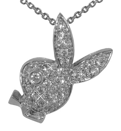 """0.55 Ct.TW Pave Round Diamond Bunny Head Pendant in 14 kt. With 16"""" Chain"""