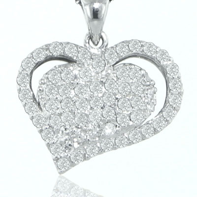 """1.25 Ct.TW Pave Round Diamond Heart Pendant in 14 kt. With 16"""" Chain"""