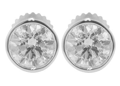 2.24 Ct. TW Round Diamond Stud Earrings in Bezel Screw Back Mounts