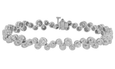 3.50Ct. TW Round Diamond Tennis Bracelet in 14 kt. Bubble Style Mounting