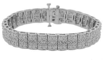 6.05 Ct. TW Round Diamond Double Row Tennis Bracelet in 14 kt. Wide Mounting