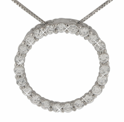 """1.25 Ct.TW Round Diamond Circle Love Pendant in 14 kt. With 16"""" Chain"""