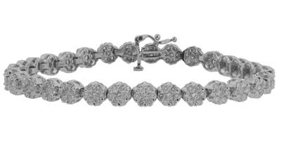 14.05 Ct. TW Round Diamond Tennis Bracelet in 14 kt. Cluster Mounting