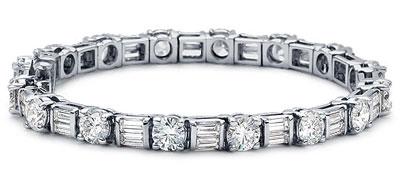8.00 Ct. TW Round & Baguette Diamond Tennis Bracelet in 14 kt. Mounting
