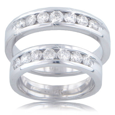 1.65 Ct. TW His & Hers Channel Set Round Diamond Wedding Bands in 14 kt. Comfort Fit Rings