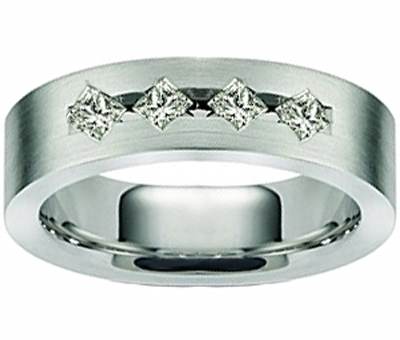0.65 Ct. TW Men's Princess Diamond Wedding Band
