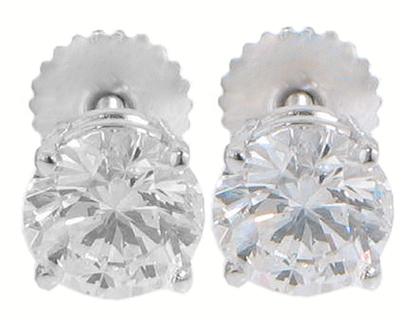 1.10 Ct. TW Round Diamond Stud Earrings in Screw Back Mounts