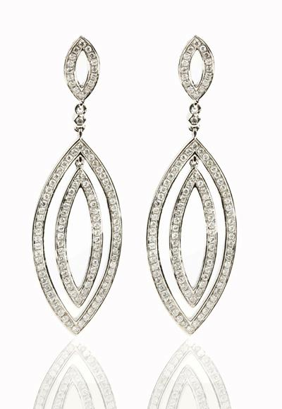 1.50 Ct. TW Pave Round Diamond Double Dangle Earrings in 14 kt. Post Mounts