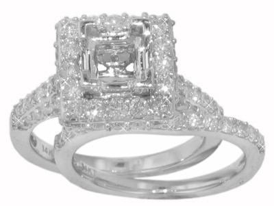 2.75 Ct. Round Diamond Halo Semi Mount and Matching Band