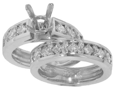 2.25 Ct. TW Round and Princess Diamond Engagement Semi Mount with Wedding Band