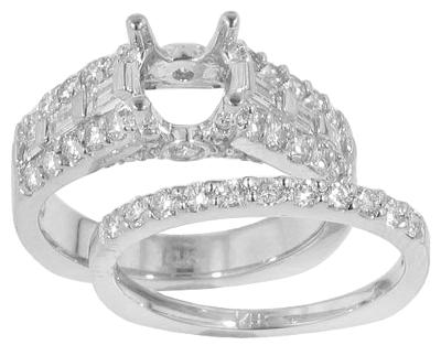 1.70 Ct. TW Round and Baguette Diamond Engagement Mount with Wedding Band