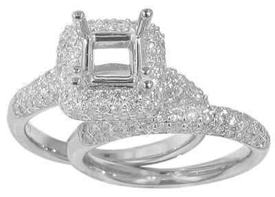 2.00 Ct. TW Round Diamond Micro Pave Halo Engagement Mount with Wedding Band