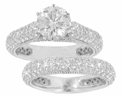 3.36 Ct. TW Round Cut Diamond Engagement Ring with Wedding Band
