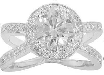 2.59 ct. TW Round Diamond Engagement Split Shank Ring