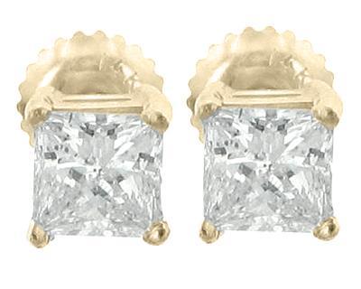 1.72 Ct. TW Princess Diamond Stud Earrings in Yellow Gold Screw Back Mounts