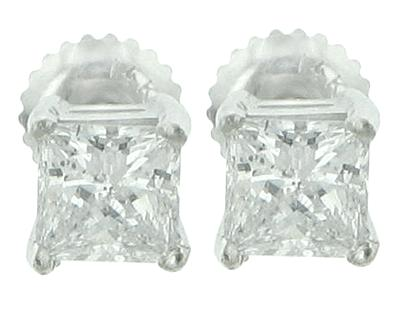1.40 Ct. TW Princess Diamond Stud Earrings in Screw Back Mounts