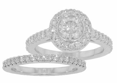 3.01 Ct. TW Bezel Set Round Diamond Engagement Ring and Wedding Band