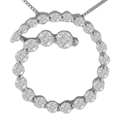"""2.00 Ct.TW Round Diamond Spiral Circle Love Pendant in 14 kt. With 16"""" Chain"""