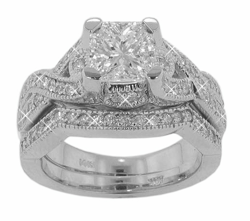 2.25 Ct. TW Princess Cut Diamond Engagement Ring and Wedding Band