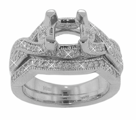 1.25 Ct. TW Round Diamond Engagement Mount with Form Fit Wedding Band