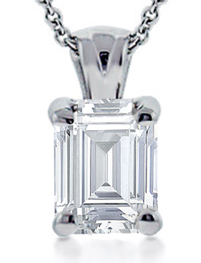 """1.05 Ct. TW Emerald Cut Diamond Solitaire Pendant in 14 kt. With 18"""" Chain"""