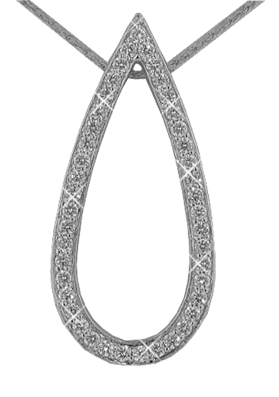 "1.00 Ct. TW Pave Round Diamond Teardrop Pendant in 14 kt. With 16"" Chain"
