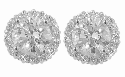 M. A. Jewelry Designs 2.18 Ct. TW Round Diamond Stud Earrings in Pave Halo Accented 18 kt. Screw Back Mounts at Sears.com