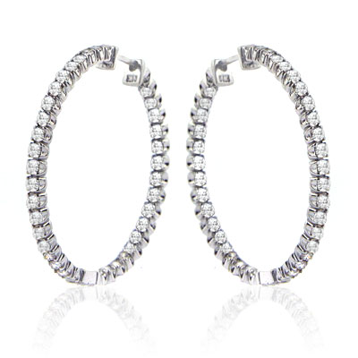 1.40 Ct. TW Round Diamond Inside-Outside Hoop Earrings