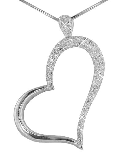 """1.50 Ct. TW Micro Pave Round Diamond Heart Pendant in 14 kt. With 16"""" Chain"""