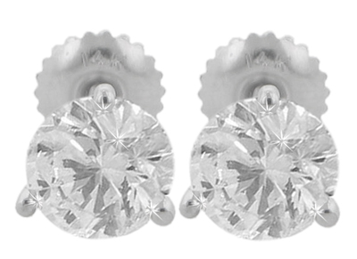 M. A. Jewelry Designs 1.50 Ct. TW Round Diamond Stud Earrings in Three Prong Martini Screw Back Mounts 14 kt. at Sears.com