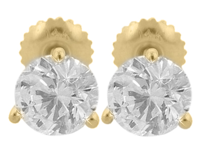 1.56 Ct. TW Round Diamond Stud Earrings in Three Prong Yellow Gold Screw Back Mounts