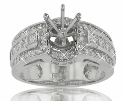 1.75 Ct. TW Round and Princess Diamond Engagement Channel Semi Mount