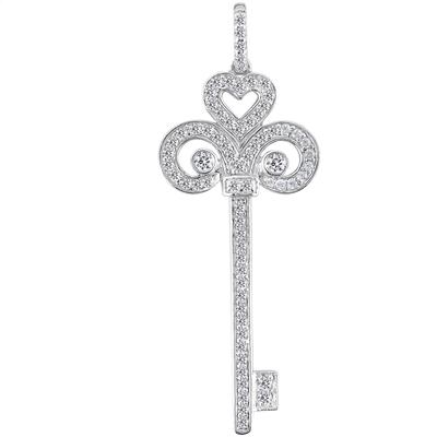 Dp 898ma 055 ct tw pave round diamond fleur de lis key pendant 055 ct tw pave round diamond fleur de lis key pendant in 14 kt mozeypictures Image collections
