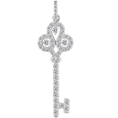 "0.70 Ct. TW Pave Round Diamond Old Fashion Key Pendant in 14 kt. With 18"" Chain"