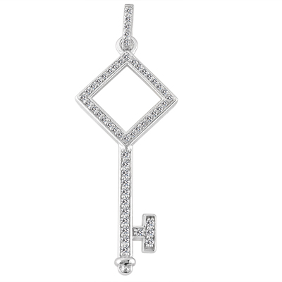 "0.40 Ct. TW Pave Round Diamond Square Head Key Pendant in 14 kt. With 18"" Chain"