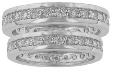 His & Hers Round Diamond Eternity Wedding Bands in 14 kt. Comfort Fit Rings