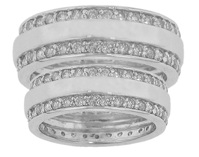 His & Hers Round Diamond Two Row Eternity Wedding Bands in 14 kt. Comfort Fit Rings
