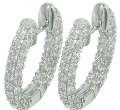 2.75 Ct. TW Round Pave Diamond Hoop Earrings
