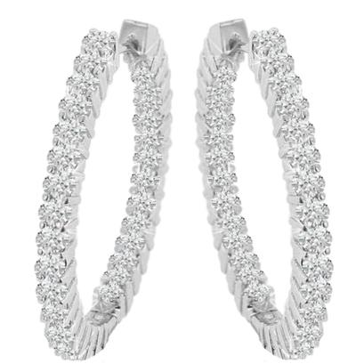4.20 Ct. TW Round Diamond Inside-Outside Hoop Earrings