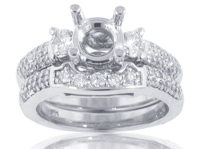 1.25 Ct. TW Round Diamond Accented Engagement Mount with Matching Band