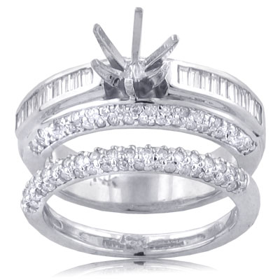 1.25 ct. TW ROUND and BAGUETTE CUT ENGAGEMENT MOUNT with WEDDING BAND