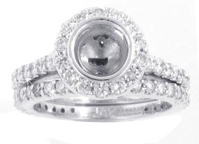 ROUND DIAMOND HALO SEMI MOUNT WEDDING SET